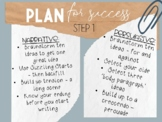 """""""Less is more"""" themed - 7 Steps to Writing Success Posters"""