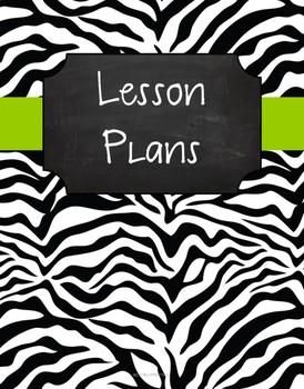 {Lesson Plan Binder Cover Freebie} B&W Zebra Chalkboard with Pink Ribbon