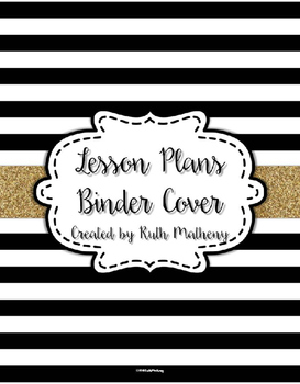 lesson plan binder cover freebie black white striped with gold