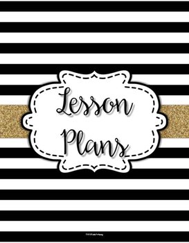{Lesson Plan Binder Cover Freebie} Black & White Striped with Gold