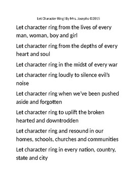 """""""Let Character Ring"""""""