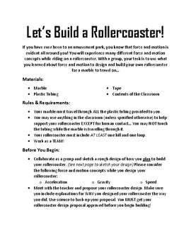 """Let's Build a Rollercoaster"" Experiment"