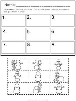 """""""Let's Build a Snowman"""" Emergent Reader, Sequencing, and Writing Center"""