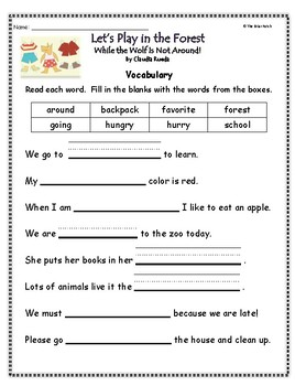 """""""Let's Play in the Forest While the Wolf Is Not Around"""" Guided Reading Work"""