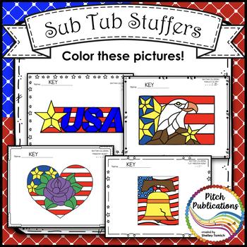 Sub Tub - Rhythm Coloring: Patriotic - Color by Note - multiple rhythm levels