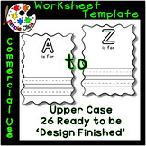 'Letter is For' Worksheet Template Set - 26 pngs & Commerc