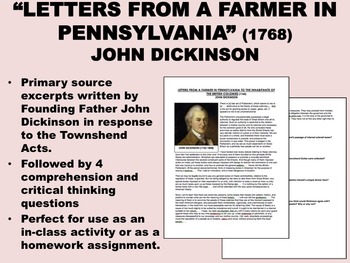 Letters From A Farmer In Pennsylvania American Revolution Apush