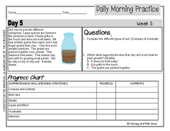 (Leveled) Daily Morning Practice (Reading Grade 3) Weeks 5-8