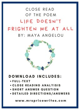"""""""Life Doesn't Frighten Me At All"""" Short Answer Response"""