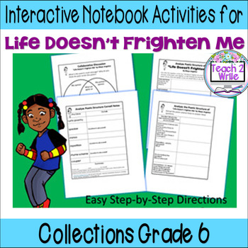 """Life Doesn't Frighten Me"" Interactive Notebook ELA HMH Collections Grade 6"
