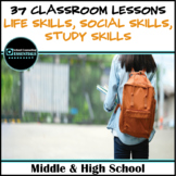 """School Counseling """"20 Life Skills & Study Skills"""" Lessons for Middle/High School"""