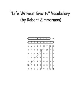 """Life Without Gravity"" Informational Vocabulary Word Search Words Only Zimmerman"