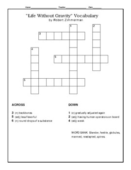 """Life Without Gravity"" Robert Zimmerman Vocabulary Crossword Puzzle WITH Bank"