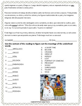 """""""Life of Frida Kahlo"""" Intermediate Reading and Activity Pack"""