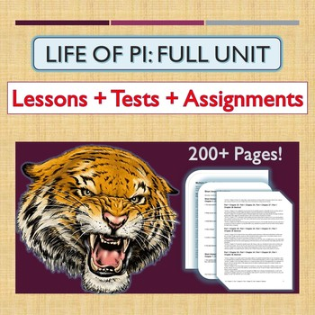 """Life of Pi"" COMPLETE UNIT: Activities, Tests, Lessons, and Answer Keys!"