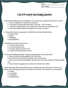 """""""Life of Pi"""" Close Reading Worksheet for Code-X Unit 2"""