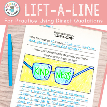 """Lift-a-Line"" Reading Strategy Response Sheet (Benchmark Advance)"