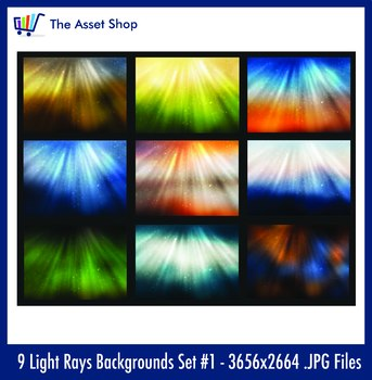 'Light Rays Backgrounds' Set #1 (Digital Clip Art)