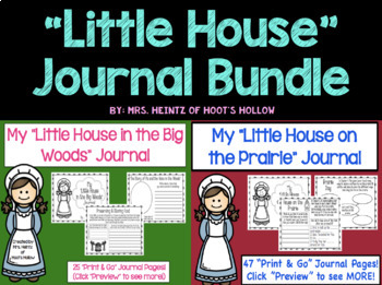 """""""Little House in the Big Woods"""" & """"Little House on the Prairie"""" Journal BUNDLE"""