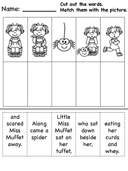 """Little Miss Muffet"" Differentiated Literacy Activities [no prep!]"
