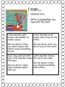 """Little Red Hen Makes a Pizza"" Writing Connections"