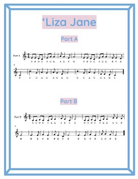 Liza Jane Duet for 2 Recorders (C Major Scale in 2/4 Time)