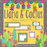 """Llama & Cactus"" Classroom Decor Pack-EDITABLE"