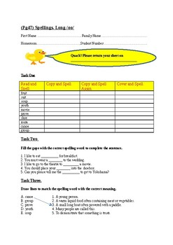 (Long oo) Spelling Sheet. Jolly Learning Grammar 6 Student Book Page 47.