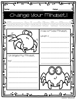 """""""Look for the Good"""" Student Fixed & Growth Mindset Worksheet"""