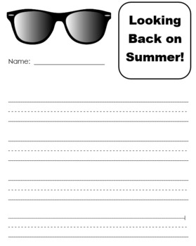 """""""Looking Back on Summer"""" - Writing Activity"""
