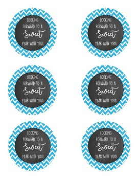 """Looking forward to a sweet year with you"" printable chalkboard tags"