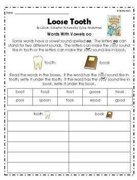 """Loose Tooth"" Reading, Writing, & Comprehension Activites"