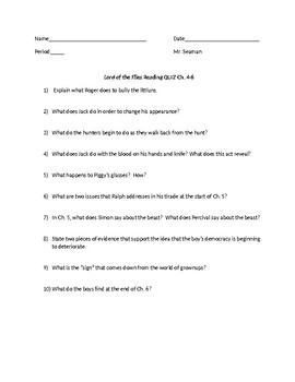 """""""Lord of the Flies"""" Ch. 4-6 Reading Quiz"""