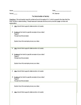"""Lord of the Flies"" Deterioration of Society Worksheet"