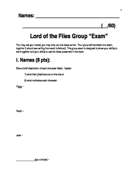 """""""Lord of the Flies"""" Group Exam"""