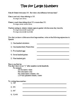 """""""Los Números"""":  Spanish Numbers 0-1000 Handout and Tips"""