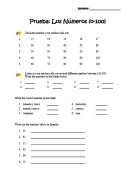 """Los Números"":  Spanish Numbers 0-100 Handout and Quiz"