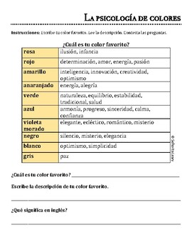 ¡Los colores! - Psychology of colors with English/Spanish cognates