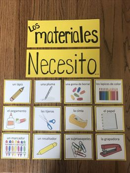 """Los materiales"" classroom supply flashcards"