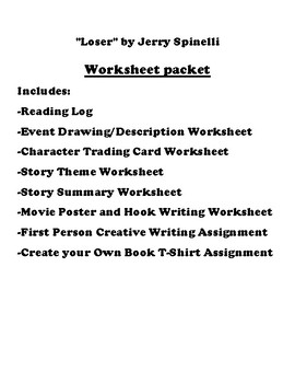 """Loser"" by Jerry Spinelli Worksheet Packet"