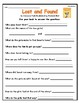 """""""Lost and Found"""" Activities for Reading, Writing, and Comprehension"""