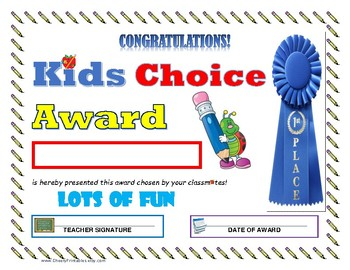 """""""Lots of Fun"""" KIDS CHOICE AWARD- For Primary and Middle Grades Children!"""
