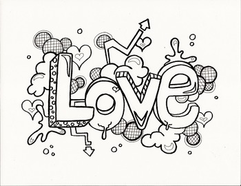"""""""Love"""" Graphic Doodle Coloring Page"""