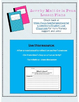 """Love"" Lesson Plan and Printable"