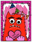 """Love Monster"" Math, Literacy and Valentine Bag"