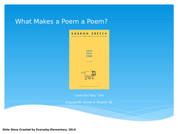"""Love That Dog"" Poetry Unit Slide Show - Engage NY Grade 4 ELA Module 1B"