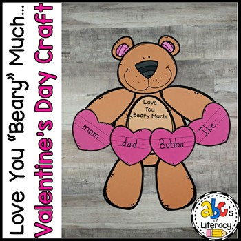 """""""Love You Beary Much"""" Valentine's Day Craft and Writing Prompt"""
