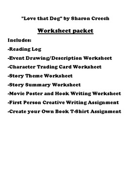 """""""Love that Dog"""" by Sharon Creech Worksheet Packet"""