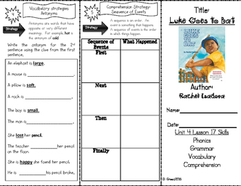 """Luke Goes to Bat"" Skills Trifold aligned to Journeys Lesson 17"