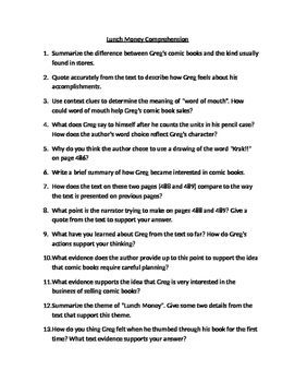 """""""Lunch Money"""" Comprehension Questions"""